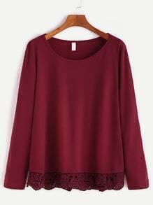 T-shirt contrasté tricoté - bordeaux rouge