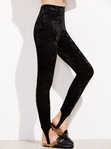 Leggings de velours bracelet de talon -noir