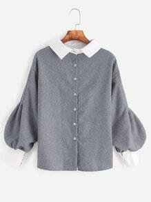 Contrast Trim Lantern Sleeve Button Back Blouse