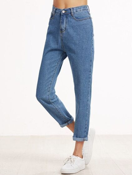 Blue Cuffed Straight Leg Jeans