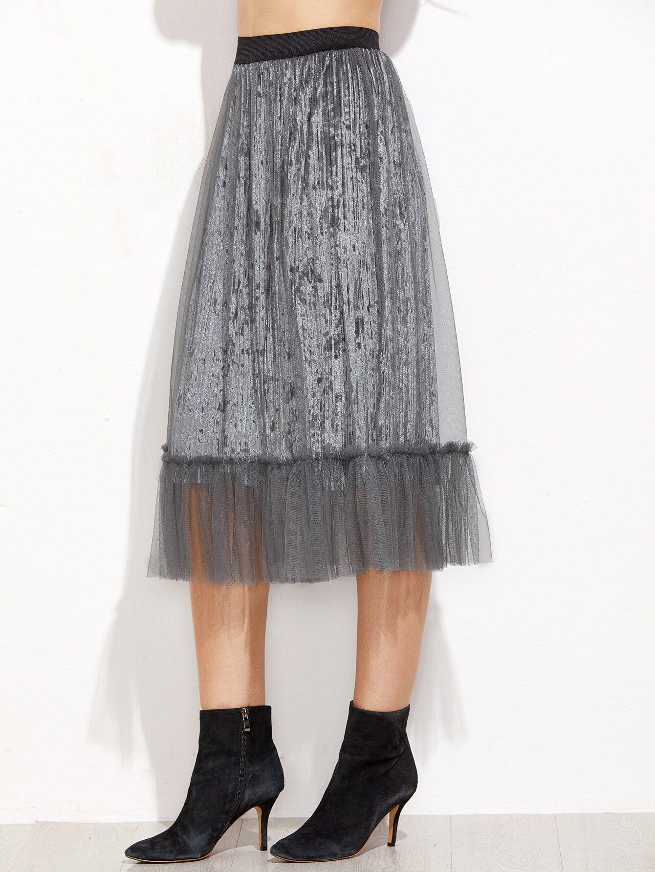 Grey Mesh Overlay Pleated Velvet Skirt