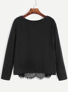 Black Contrast Eyelash Lace Wrap Back T-shirt