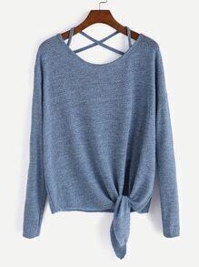 Blue Drop Shoulder Criss Cross Tie Front T-Shirt