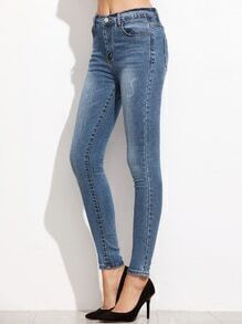 Pantalons en denim collants - bleu
