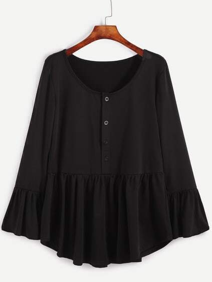 Black Ruffle Hem T-shirt With Button Front
