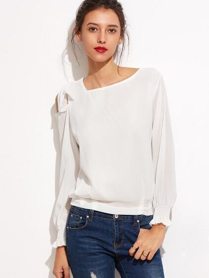 White Tie Shoulder Shirred Cuff Chiffon Top