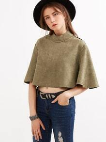 Army Green Mock Neck Zipper Back Crop Cape Top