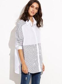 Camisa a rayas con ribete redondeado - blanco