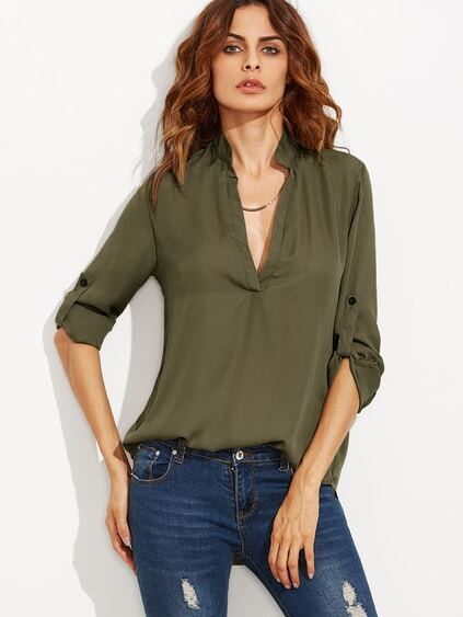 Army Green Deep V Neck High Low Shirt