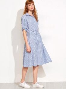 Blue Vertical Stripe Self Tie Shirt Dress