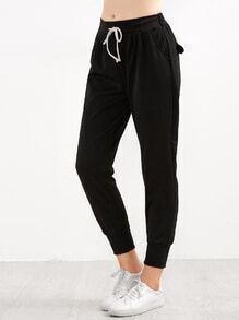 Pantalones con cordón en la cintura - negro
