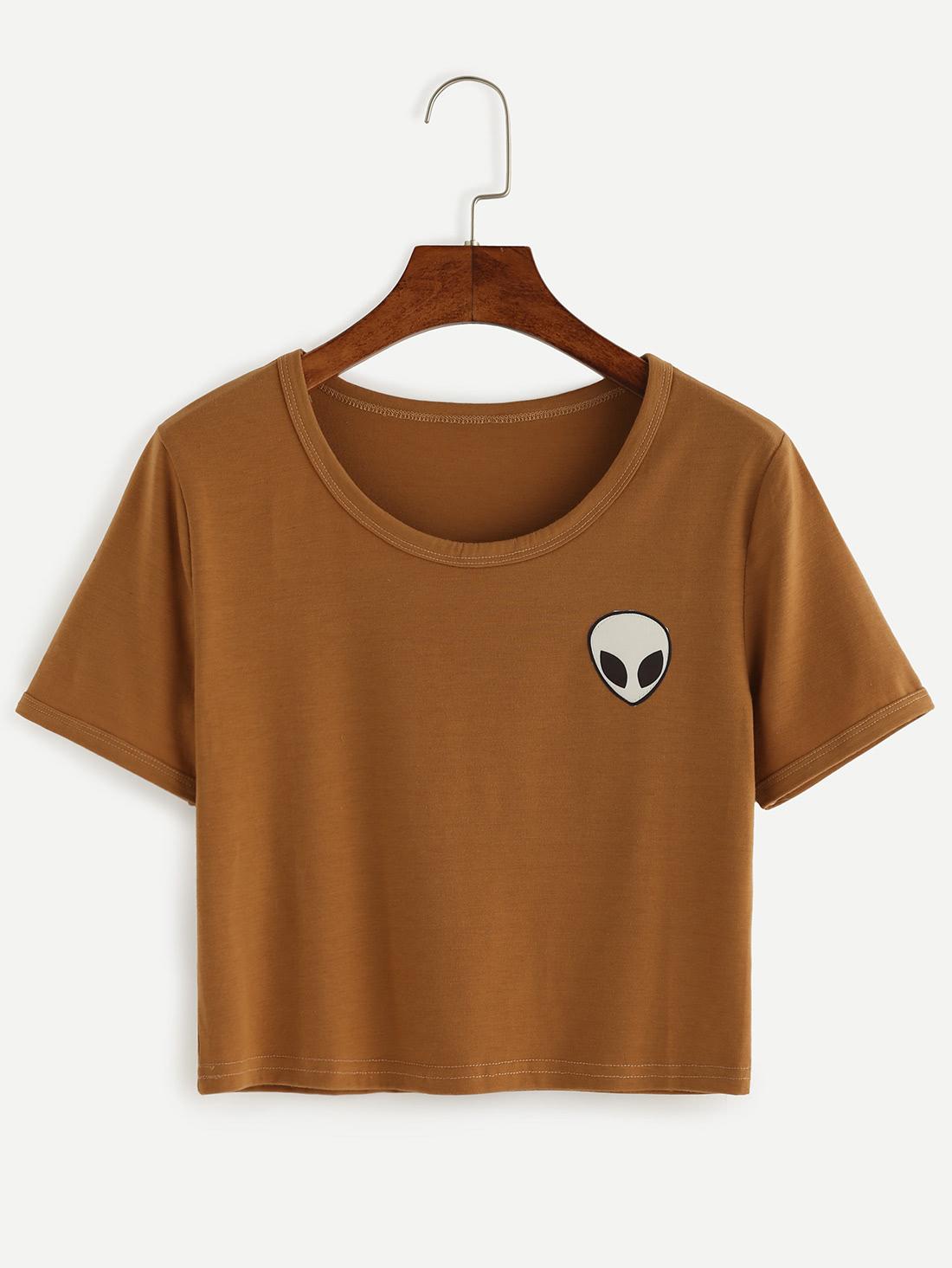 Khaki Alien Print Crop T-shirt