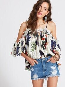 Tropical Print Cold Shoulder Appliques Top