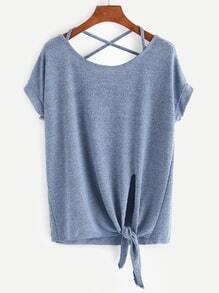 Blue Criss Cross Back Knotted Hem T-shirt