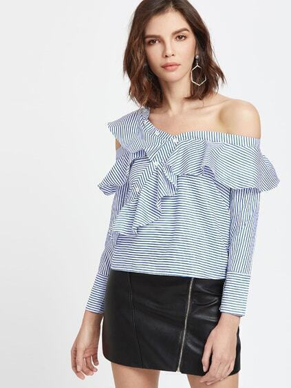 Blue Striped Asymmetric Cold Shoulder Ruffle Trim Top