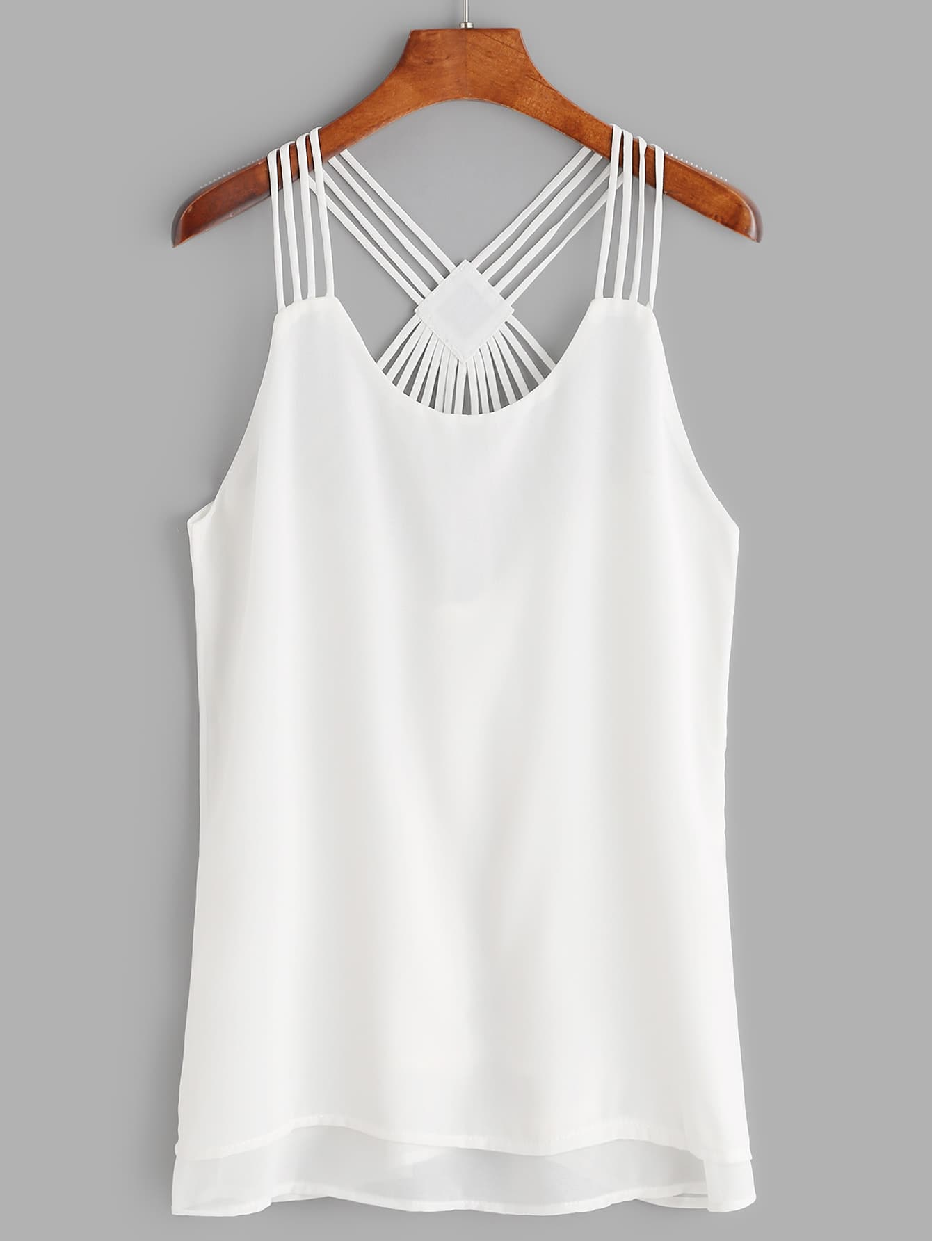 White Strappy Back Layered Chiffon Cami Top