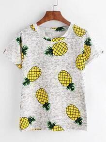 T-shirt imprimé ananas gris clair