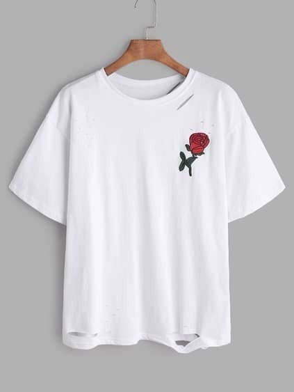 White Rose Embroidered Ripped T-shirt