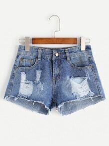 Shorts rotos desflecados en denim - azul claro