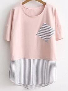 Pink Contrast Striped Hem Pocket T-Shirt