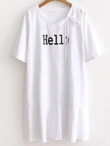 White Letter Print Lace Up Tee Dress