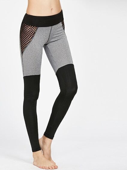 Leggins de malla en rejilla en color block