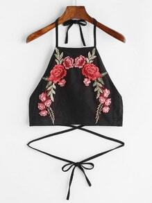 Black Suede Tie Detail Appliques Crop Halter Top