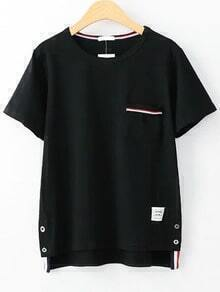 Camiseta asimétrica ribete de rayas con bolsillo - blanco