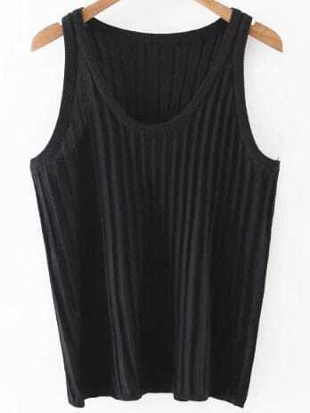 Black Ribbed Knit Tank Top