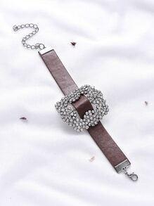 Rhinestone Design Faux Leather Bracelet