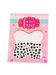 Pegatinas de uñas con estampado de rosa - negro blanco