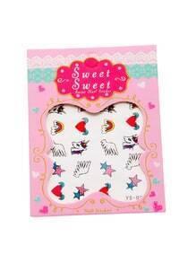 Pegatinas de uñas con estampado de caballo y corazón - negro blanco