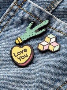 Cactus et ensemble de broches en forme de coeur