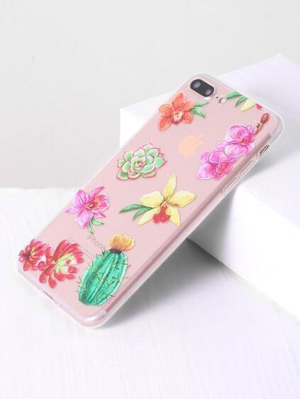 Funda para iphone 7 plus transparente con estampado de flor