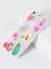 Funda para iphone 7 transparente con estampado de flor