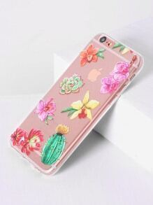 Funda para iphone 6/6s transparente con estampado de flor