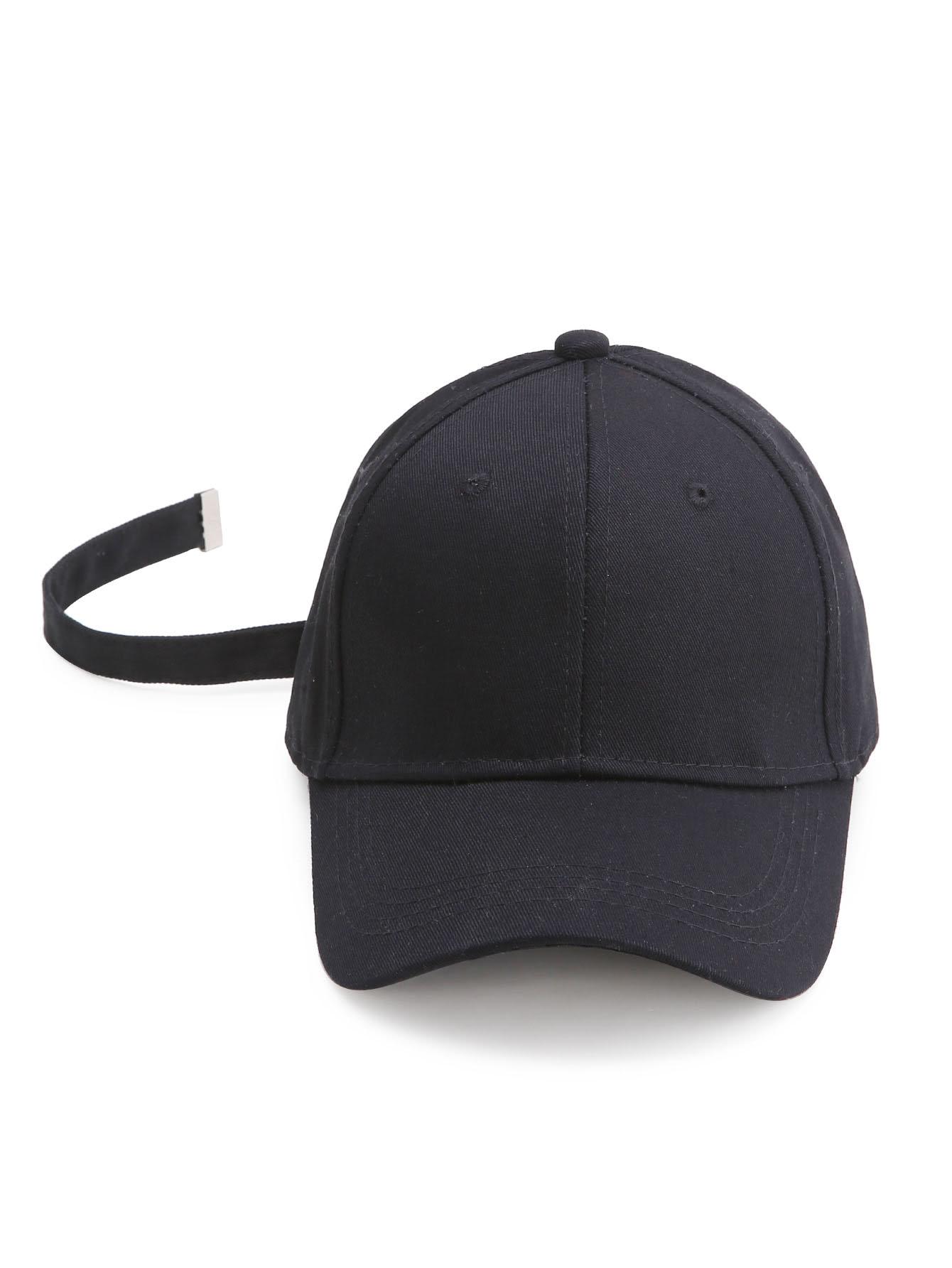 Black Baseball Cap With Strap