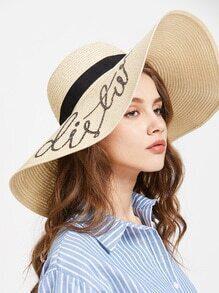 Sombrero de paja con ala ancha con lentejuelas - beige