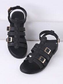 Black Buckle Detail Gladiator Flat Sandals