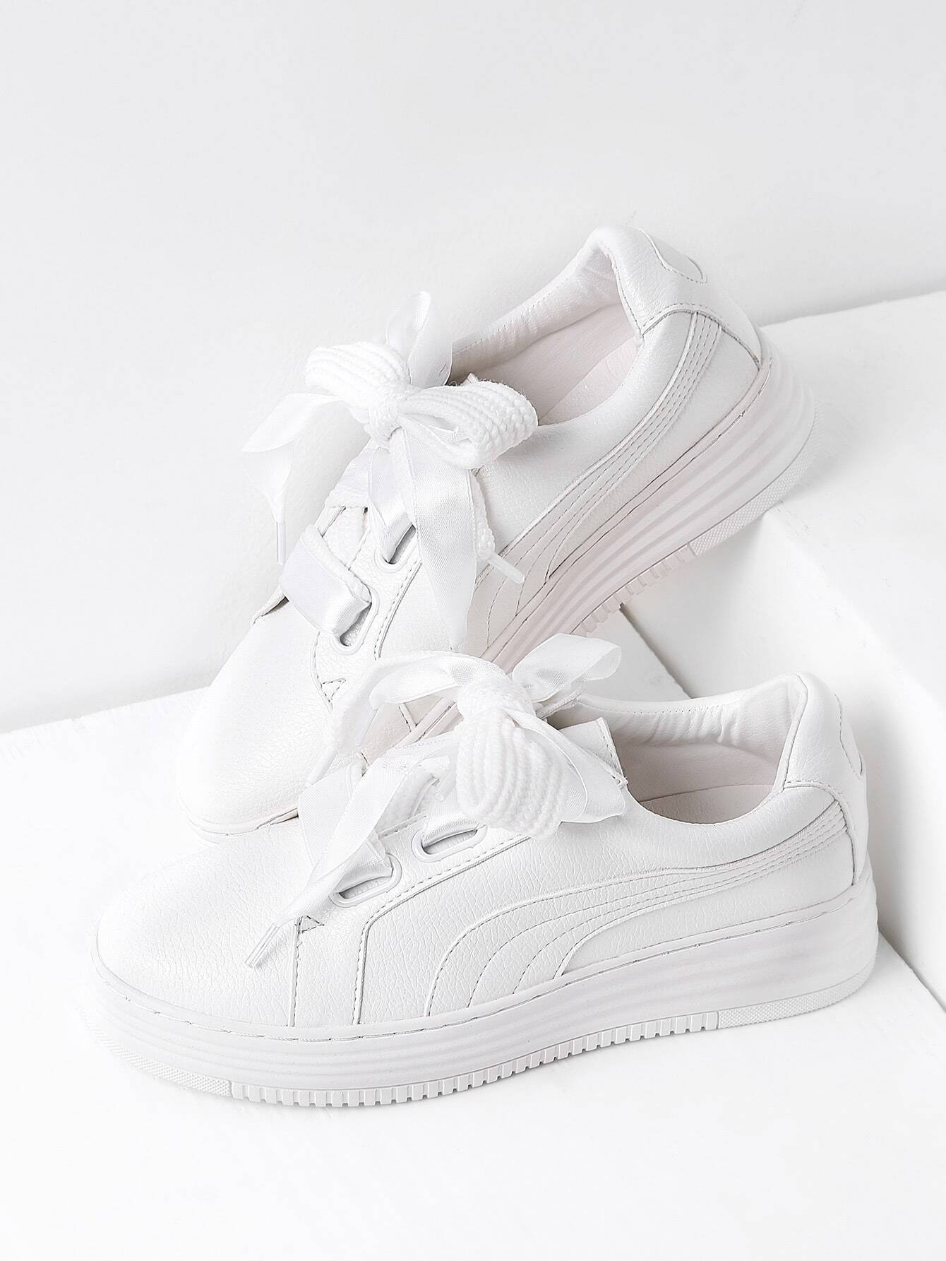 White Lace Up Faux Leather Sneakers