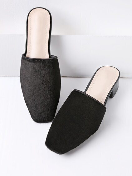 Black Faux Fur Square Toe Heeled Slippers