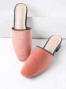 Pink Faux Pelz Square Toe Heeled Hausschuhe