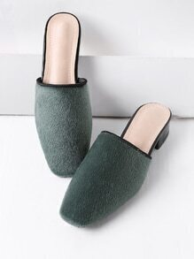 Green Faux Fur Square Toe Heeled Slippers