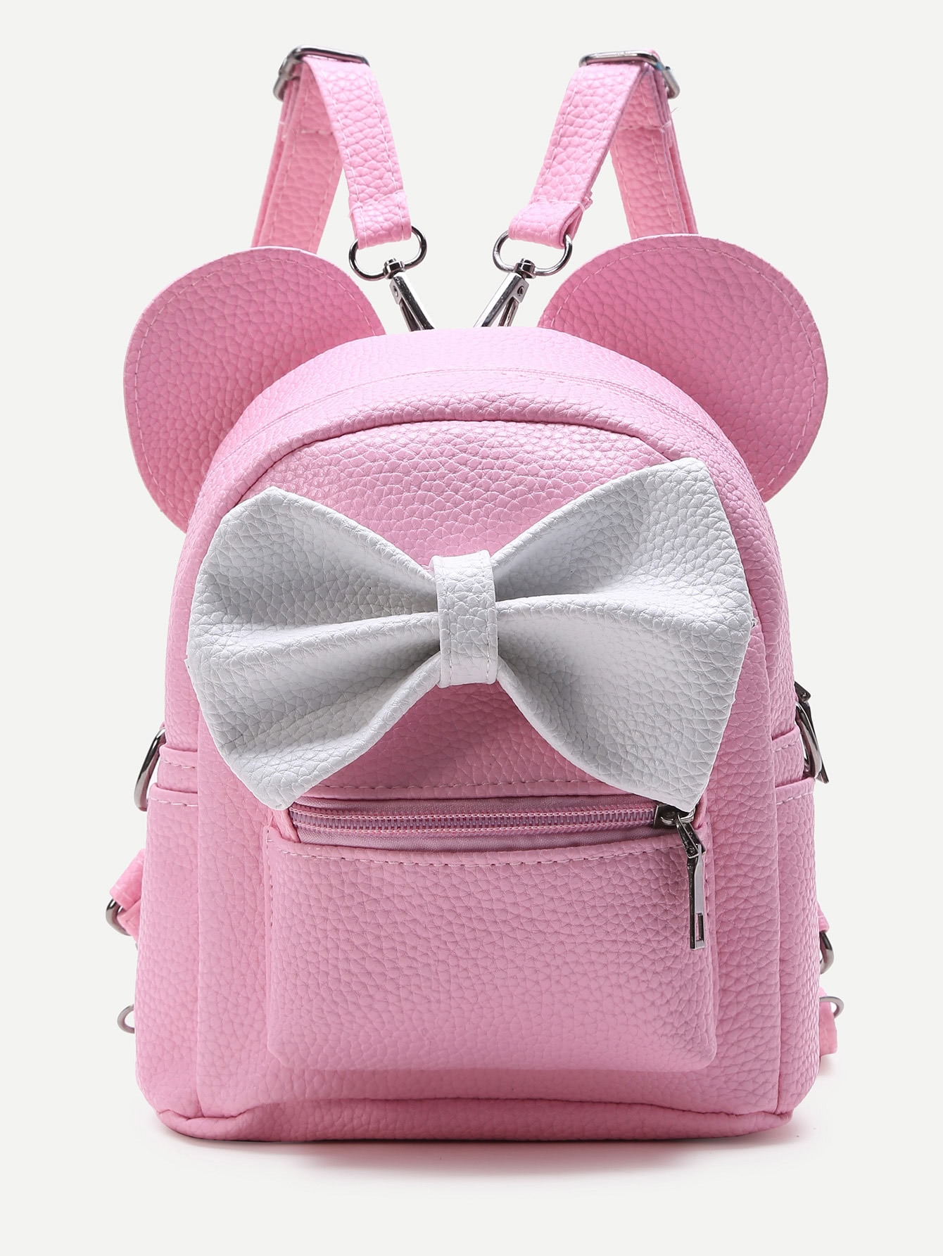 Pink Ear Shaped PU Backpack With Contrast Bow