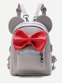 Grey Ear Shaped PU Backpack With Contrast Bow