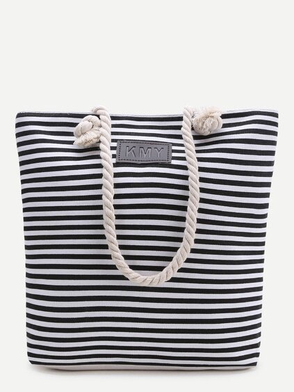 Black Striped Print Tote Bag