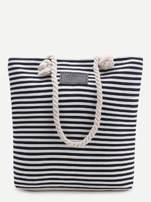 Black Striped Print Tote Bag