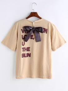 Letter Print T-shirt With Bow