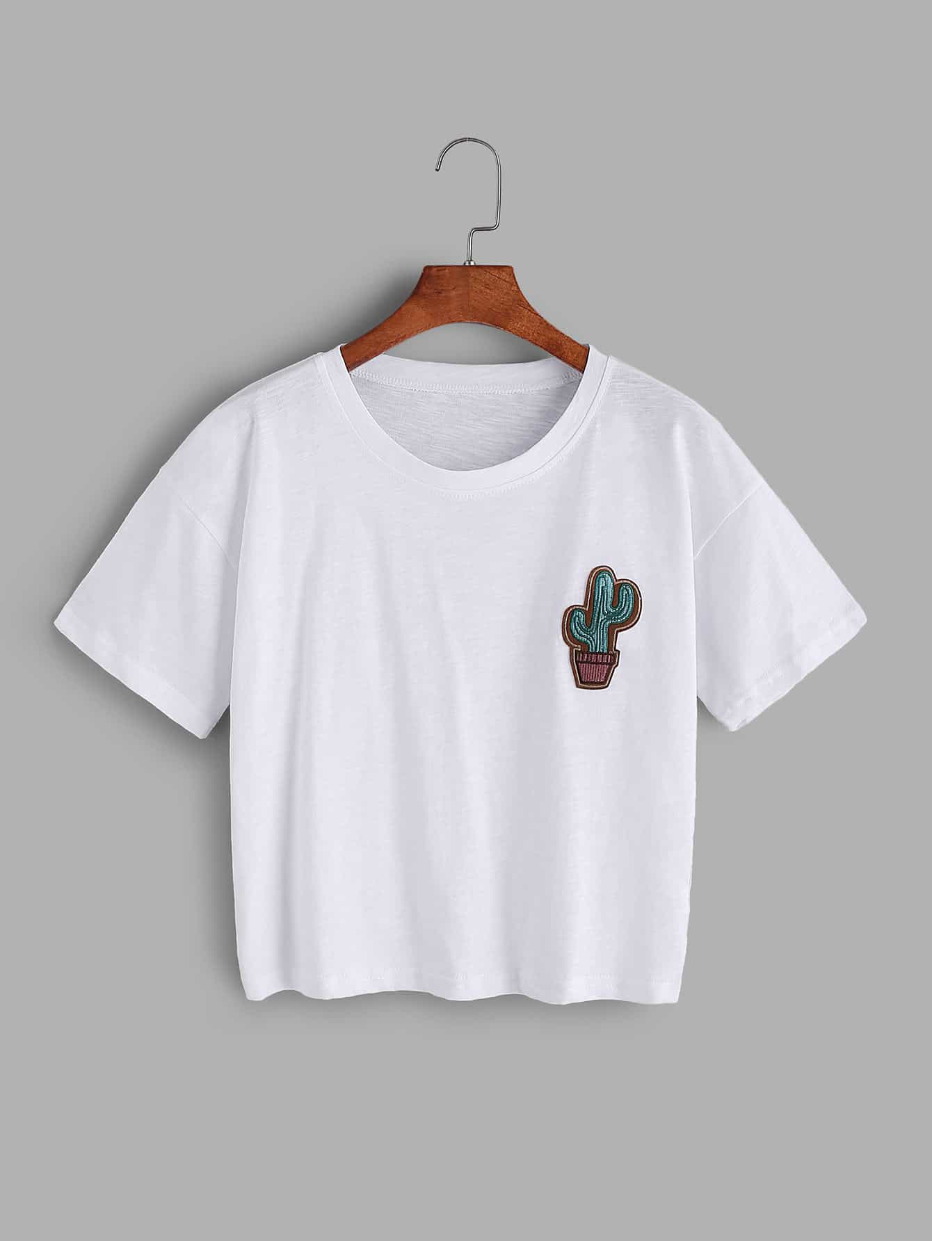Cactus embroidered t shirtfor women romwe