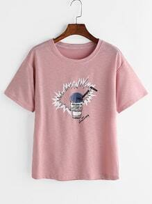 Tee-shirt imprimé rose